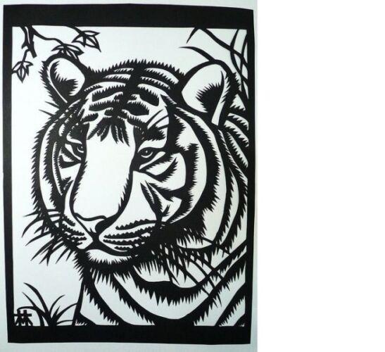 вытынанки на окна в детском саду новогодние тигры