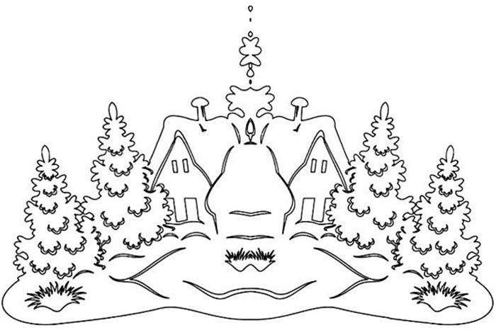 шаблоны рисунков для окон на новый год