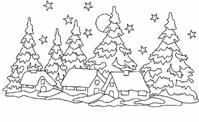 зимняя природа картинки для срисовки