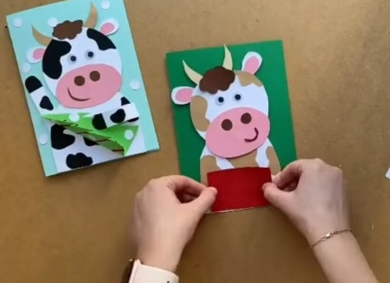 открытки на новый год быка своими руками