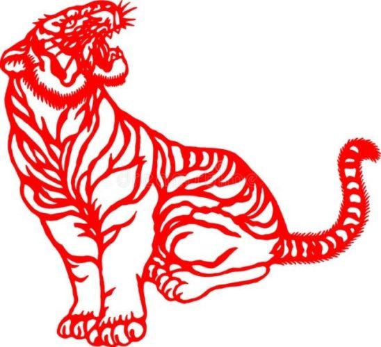 простые шаблоны тигров для окон