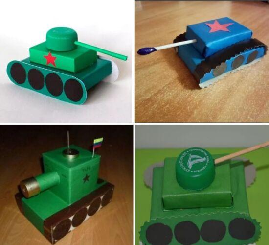 танк из картона для детей