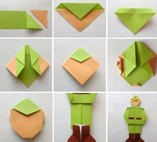 оригами солдат из бумаги схема