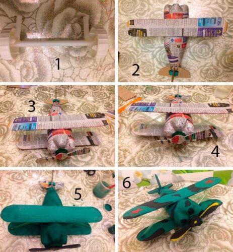 схема самолетика из пластиковой бутылки