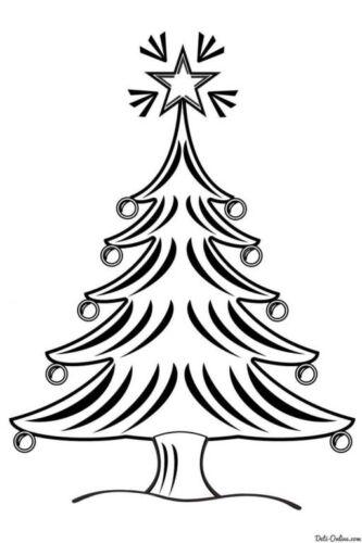 трафарет новогодней елки