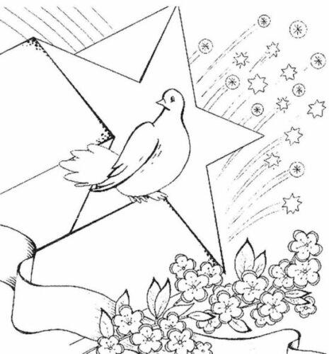 раскраска голубь на день победы