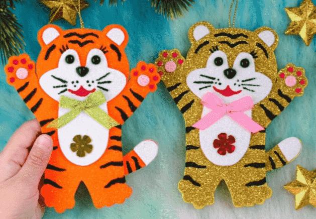 ёлочные игрушки тигр из фоамирана